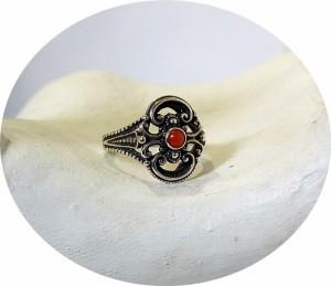 835 zilveren ring met bloedkoraal Duits of Nderlands oud antiek vintage trachten old silver antique 4.JPG