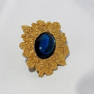 Original Vintage designer costume jewelry YSL Yves Saint Laurent hair clip pin clasp haarclip blue stone blauwe steen d.JPG