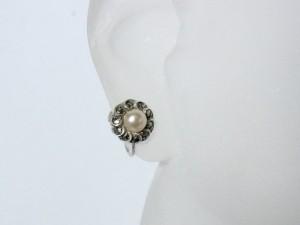 835 zilveren schroef oorbellen met parel en markasieten vintage oud 3.JPG