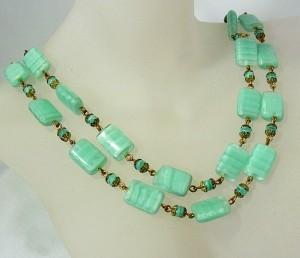 Vintage two row Art Deco glass beaded necklace twee rij rijig glass kralen collier ketting mogelijk Boheems Bohemian Czechoslovaaks old Antique Antiek oud 5.JPG