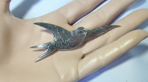 Zilveren vogel broche bird brooch silver Old vintage oud groot large 3 gemerkt zwaardje en makersmerk meesterteken GN6 5.JPG