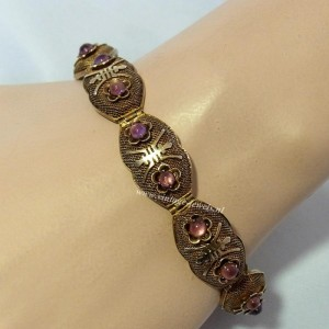 Export verguld vermeil zilveren Chinese filigrain armband met rose stenen China Antieke oude vintage silver gilded bracelet with pink stones and safety chain 2.JPG