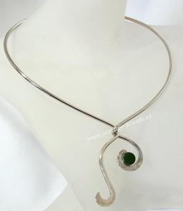 Alton Sweden Zweden 925 zilveren spang collier met jade 1976 necklace silver modernist designer vintage Scandinavian Scandinavische 1.JPG