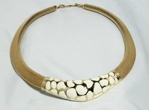 Christian Dior vintage costume designer necklace white enamel ketting c.JPG