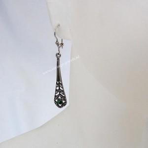 Vintage 925 sterling zilveren hang oorbellen met malachiet silver earrings with Malachite oude old 3.JPG