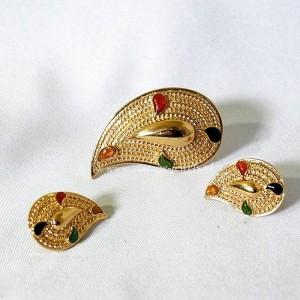 Avon vintage sieraden set broche clip oorbellen brooch earrings chic chique designer enamel emaille gold tone goudkleurig 1.JPG