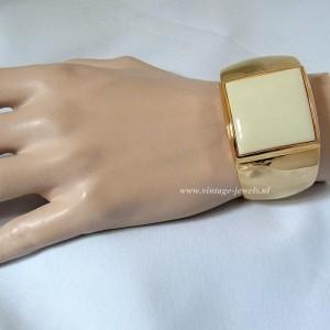 Avon vintage wide bracelet brede armband spang met creme cream designer chic posh statement chique 1.JPG