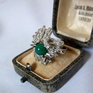 835 zilveren modernistische modernist ring met groen rondel Jade vintage green rond natural stone desinger 1.JPG