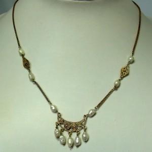 Vicenza Italian Italiaans 835 guilded verguld vermeil zilveren silver collier necklace ketting barokpareltjes real pearls zestiger jaren sixties vintage old oud Designer Jugendstil c.JPG