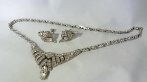 Ora designer necklace set screwback earrings collier ketting schroef oorbellen vintage costume Art Deco 1950s 50er jaren America  Amerikaanse rhodium plated 6.JPG