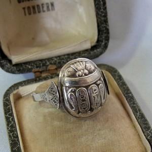 Egyptishe Egyptian 800 silver zilveren scarabee scarab ring vintage 1.JPG