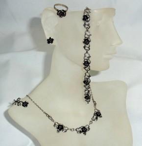 Teka Theodor Klotz Pforzheim Duitsland Germany 925 835 silver zilveren sieraden set jewelry rose rozen necklace earrings ring bracelet brooch 1.JPG