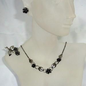 Teka Theodor Klotz Pforzheim Duitsland Germany 925 835 silver zilveren sieraden set jewelry rose rozen collier oorbellen ketting  broche necklace earrings brooch 1.JPG