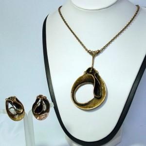 Modernist Finnland Finland Hannu Ikonen bronze set necklace earrings clips d.JPG