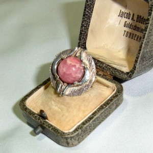 Teka Theodor Klotz vintage old modernist sterling 925 silver zilveren adjustable verstelbare ring rhodochrosiet rhodochrosite Pforzheim Germany Duitsland 7.JPG