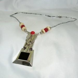 Depose French Frans Art deco Jugendstil Geometric Geometrische design necklace collier chroom chrome vintage designer hallmarked gesigneerd 4.JPG