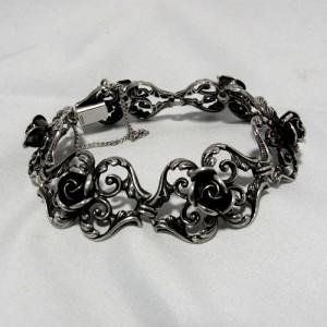 Teka Theodor Klotz Pforzheim Duitsland Germany vintage old 925 sterling zilveren silver rose rozen designer armband bracelet 2.JPG