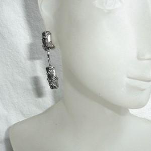 Theodor Klotz Teka Pforzheim Germany Duitsland vintage clip oorbellen 925 zilveren silver modernist designer organic rare dangle hangoorbellen 5.JPG