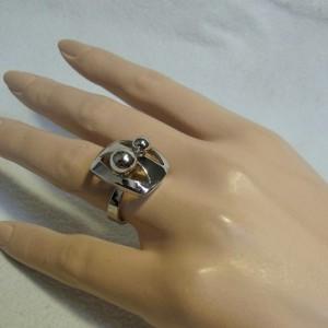 Unid Unidor Germany Duitsland 925 zilveren ring silver adjustable verstelbare modernist modernistische designer 70er jaren 1970s 3.JPG