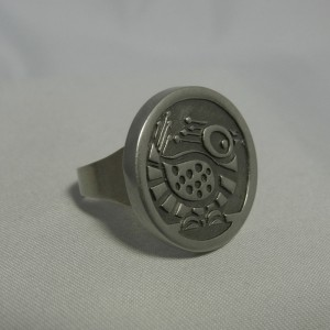 Jorgen Jensen Denmark Denemarken pewter tinnen adjustable verstelbare ring no 79 folkloric folklorische modernist designer 5.JPG