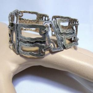 Large wide grote brede vintage 835 Fr silver zilveren armband bracelet modernist designer Germany Duitsland Scandinavian 4.JPG