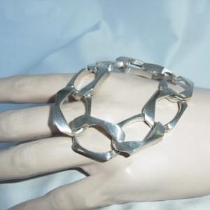 Massive masieve 835 zilveren schakel armband link bracelet vintage designer 2.JPG