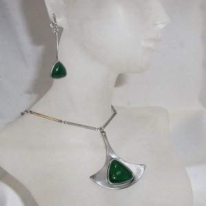 Corocraft America Amerika vintage designer modernist necklace set pendant chain earrings hanger oorbellen ketting collier 1960s 4.JPG