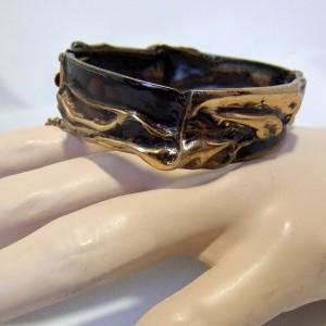 Harrie Harry Lenferink Dutch Nederlands design bronze bronzen hinged bracelet armband vintage modernist brutalist 2.JPG