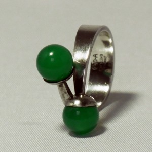 david andersen d-a norway modernist sterling 925 silver ring reen stone d.JPG