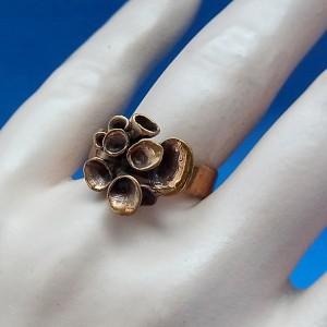 Hannu Ikonen Finland bronze bronzen ring adjustable verstelbaar  reindeer moss rendier mos vintage modernist scandinavian 1.JPG