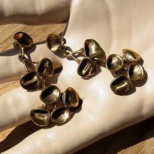 Hannu Ikonen Finland bronze bronzen oorstekers oorbellen dangle earrings push in reindeer moss rendier mos vintage modernist scandinavian 1.JPG