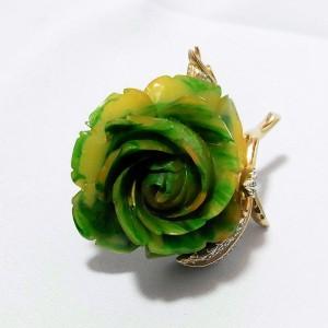 Nettie Rosenstein vintage costume designer brooch pin rose green yellow marbled  d.JPG
