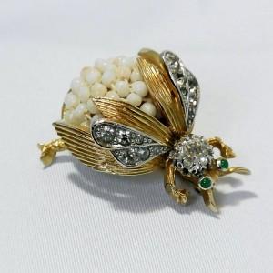 Vintage designer costume Nettie Rosenstein pin brooch bug fly insect c.JPG