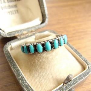 Navajo Natiev American Zuni needle point 925 sterling ring vintage designer modernist turkoise turqoise  indian indianen 2.JPG