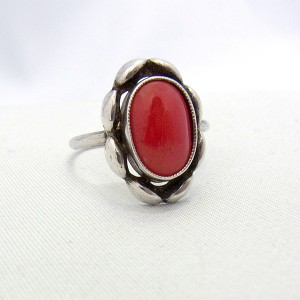 Old Oude Nederlands Dutch 85 silver zilveren ring met bloedkoraal koraal coral red vintage antique designer 3.JPG