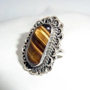 Large grote Navajo Native American Indianen 925 sterling zilveren ring silver Tiger Eye Tijgeroog vintage modernist designer 3.JPG