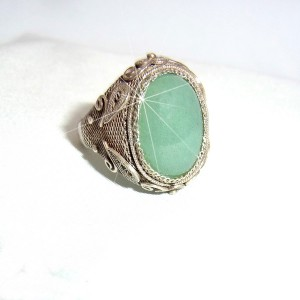 Chinese export silver zilveren adjustable verstelbare ring narural green stone natuurlike groene steen vintage antique antieke designer 3.JPG