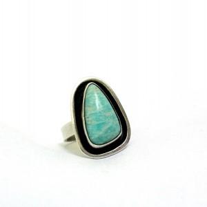 Georg Kramer 14 Germany Duitsland Fischland Baltic ring natural stone natuurlijke steen vintage designer 935 silver zilveren ring modernist 1960s 3.JPG