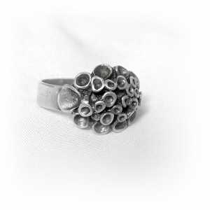 Hannu Ikonen Finland vintage 925 sterling silver zilveren designer ring, motief rendier mos reindeer moss adjustable verstelbaar  modernist scandinavian HI 34 1.JPG