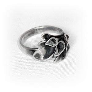 Hannu Ikonen Finland vintage 925 sterling silver zilveren designer ring, motief rendier mos reindeer moss adjustable verstelbaar  modernist scandinavian HI 30 2.JPG