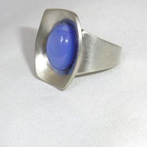 Jorgen Jensen Denemarken Denmark modernistische 60er jaren tinnen pewter verstelbare adjustable ring met een blauwe blue glassteen, no. 220 1.JPG
