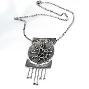 Teka Theodor Klotz Pforzheim Germany Duitsland 925 sterling silver zilveren collier hanger ketting pendant necklace designer modernist vintage brutalist 3.JPG