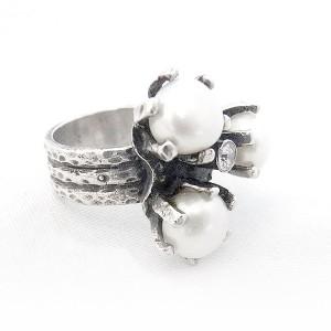 Modernist sterling 925 silver zilveren ring with 3 pearls rock crystal parels bergkristal massive brutalist designer vintage 8.JPG