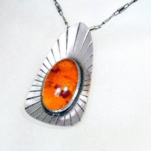 Fischland Germany Duitsland 835 silver zilveren Amber Barnsteen pendant necklace hanger met ketting vintage designer modernist Baltic Baltisch 4.JPG