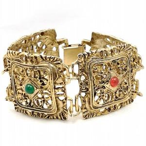 Brede wide vintage gold tone plated goudkleurige schakel armband link bracelet modernist costume designer red green glass 2.jpg