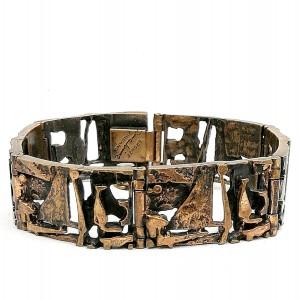 Jorma Laine Finland vintage modernist brutalist designer bronze link bracelet schakel armband Scandinavian scandinavische 1.jpg