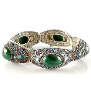 Chineze Chinese zilveren silver filligree export butterfly vlinder enamel bracelet emaille armband antieke antique vintage designer 3a.jpg