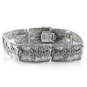 Teka Theodor Klotz Pforzheim Germany Duitsland 925 sterling zilveren silver closed gesloten link bracelet schakel armband vintage modernist designer organic brutalist 1.jpg
