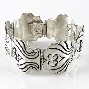 Taxco Mexico 925 sterling zilveren vintage schakel klap armband silver bracelet designer modernist traditional brutalist Mexican 6.jpg