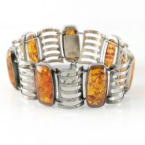 Fischland Germany Duitsland 835 silver zilveren Art Deco modernistische modernist designer schakel armband link bracelet Amber Barnsteen vintage Baltic 1.jpg